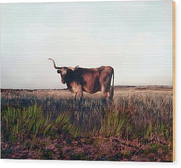 Prairie Longhorn Wood Print by Ric Darrell