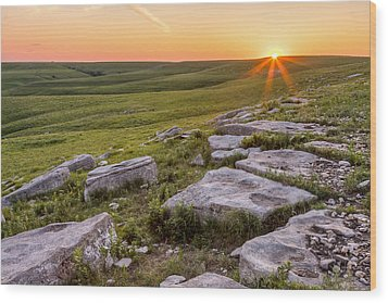 Prairie Rocks Wood Print by Scott Bean