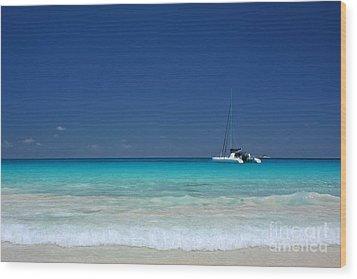 Praslin Island Catamaran Wood Print