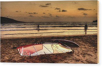 Wood Print featuring the photograph Prasonisi - A Day Of Windsurfing Is Over by Julis Simo