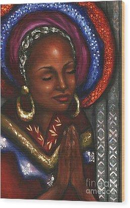 Wood Print featuring the pastel Pray With Me by Alga Washington