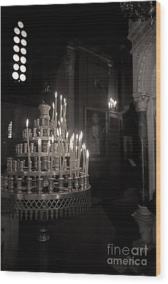 Wood Print featuring the photograph Prayer Candles by Aiolos Greek Collections