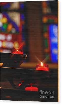 Prayer Candles Trinity Cathedral Pittsburgh Wood Print by Amy Cicconi