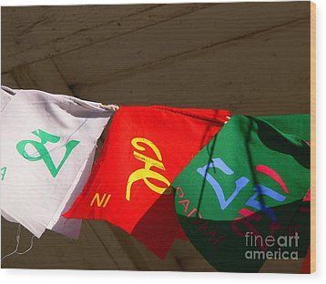 Prayer Flags Wood Print by Angela Wright