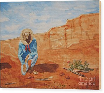 Wood Print featuring the painting Prayer For Earth Mother by Ellen Levinson