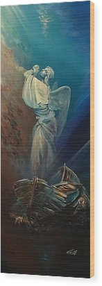 Prayer For The Seas Wood Print by Ottilia Zakany