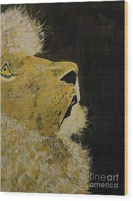 Prayer Lion Wood Print by Harold Greer