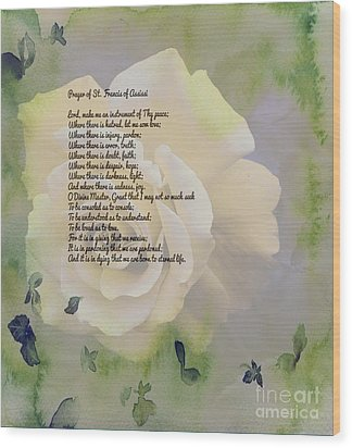 Prayer Of St. Francis And Yellow Rose Wood Print