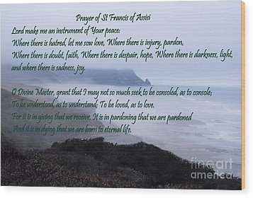 Prayer Of St Francis Of Assisi Wood Print