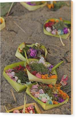 Prayer Offerings - Bali Wood Print