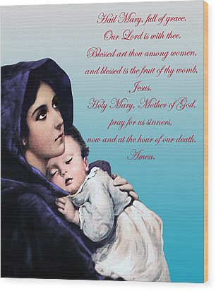Wood Print featuring the digital art Prayer To Virgin Mary by A Samuel