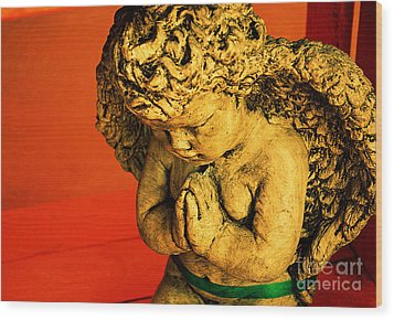 Praying Angel Wood Print by Susanne Van Hulst