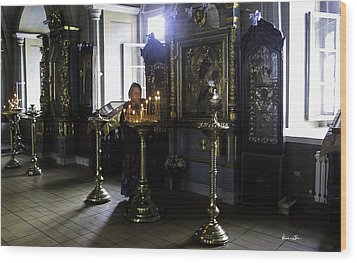 Praying At The Convent - Moscow - Russia Wood Print by Madeline Ellis