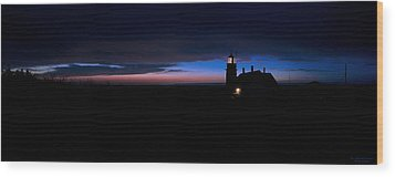 Pre Dawn Light Panorama At Quoddy Wood Print by Marty Saccone