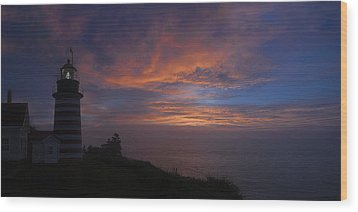 Pre Dawn Lighthouse Sentinal Wood Print by Marty Saccone