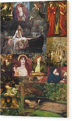 Pre Raphaelite Collage Wood Print by Philip Ralley