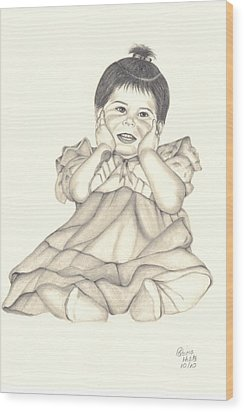 Wood Print featuring the drawing Precious by Patricia Hiltz