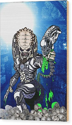 Predator Vs Alien To Be Or Not To Be Wood Print by Michael Dijamco
