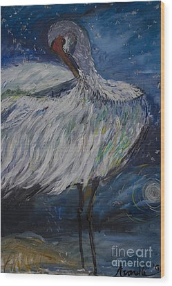 Wood Print featuring the painting Preening Crane by Avonelle Kelsey