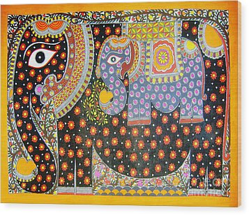 Pregnant Elephant Wood Print