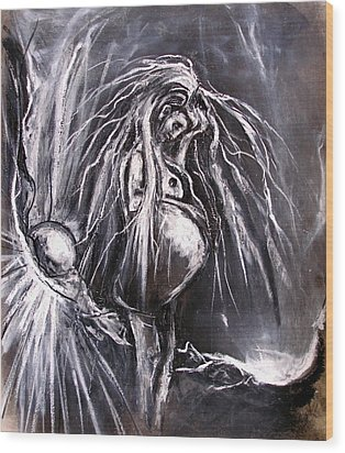 Pregnant Girl In Apocalyptic Landscape Wood Print by Kenneth Agnello