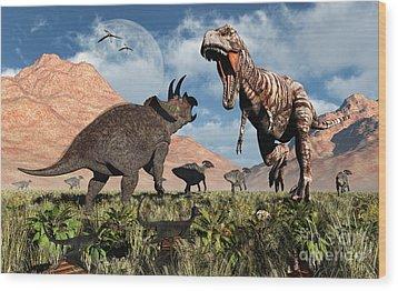 Prehistoric Battle Wood Print by Mark Stevenson
