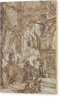 Preparatory Drawing For Plate Number Viii Of The Carceri Al'invenzione Series Wood Print by Giovanni Battista Piranesi
