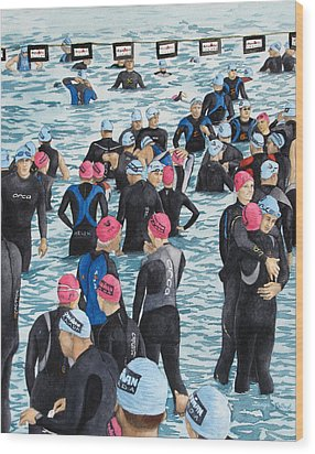 Preparing For The Swim Wood Print by Tanya Petruk