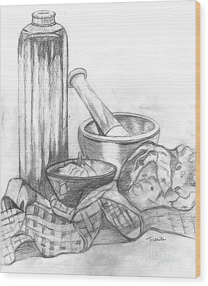 Wood Print featuring the drawing Preparing Starter Course by Teresa White