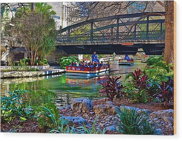 Wood Print featuring the photograph Presa Street Bridge Over Riverwalk by Ricardo J Ruiz de Porras