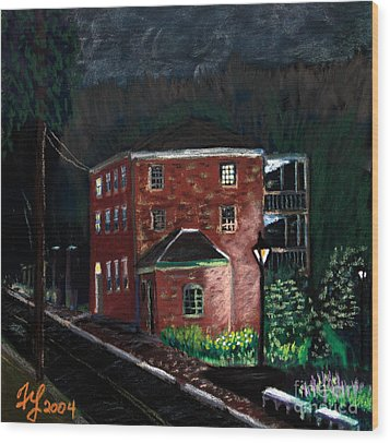 Prescott Park At Night Wood Print