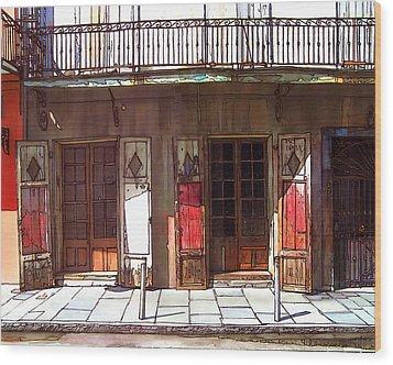 Preservation Hall Doors 370 Wood Print by John Boles