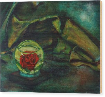Preserved Rose . . Draped Canvas Wood Print by Sean Connolly