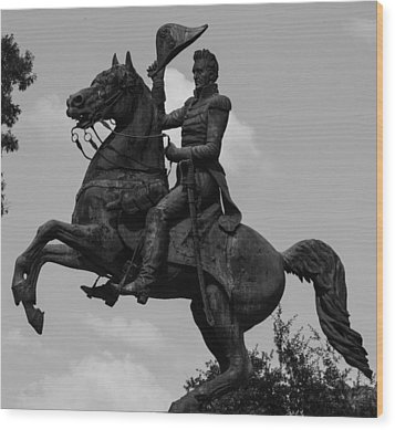 Wood Print featuring the photograph President Andrew Jackson Statue by Robert Hebert