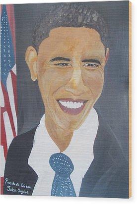 President  Barack Obama Wood Print by John Onyeka