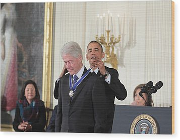 President Bill Clinton Medal Of Freedom Wood Print