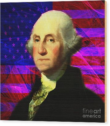 President George Washington V2 M123 Square Wood Print by Wingsdomain Art and Photography