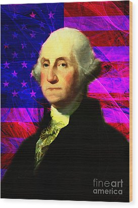 President George Washington V2 M123 Wood Print by Wingsdomain Art and Photography