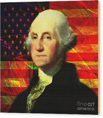 President George Washington V2 M20 Square Wood Print by Wingsdomain Art and Photography