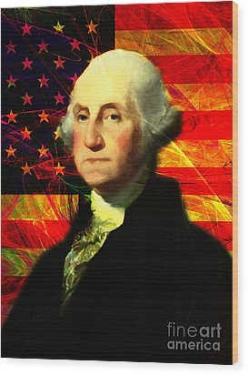 President George Washington V2 M20 Wood Print by Wingsdomain Art and Photography