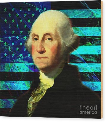 President George Washington V2 P138 Square Wood Print by Wingsdomain Art and Photography