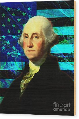 President George Washington V2 P138 Wood Print by Wingsdomain Art and Photography