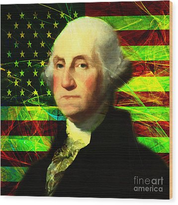 President George Washington V2 P50 Square Wood Print by Wingsdomain Art and Photography