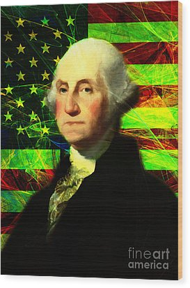 President George Washington V2 P50 Wood Print by Wingsdomain Art and Photography