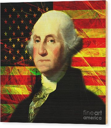 President George Washington V2 Square Wood Print by Wingsdomain Art and Photography