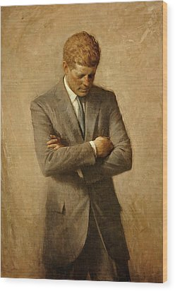 President John F. Kennedy Official Portrait By Aaron Shikler Wood Print