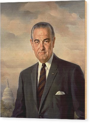 President Lyndon Johnson Painting Wood Print by War Is Hell Store