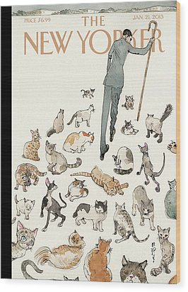 President Obama Attempts To Herd Cats Wood Print by Barry Blitt