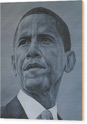 Wood Print featuring the painting President Obama by David Dunne