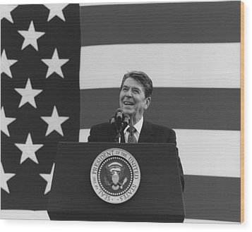 President Reagan American Flag  Wood Print by War Is Hell Store